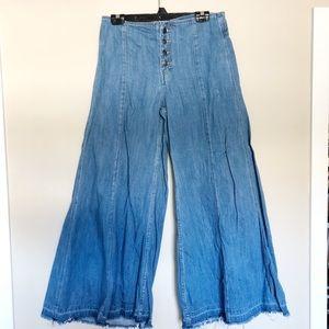 Free people wide leg cropped jeans